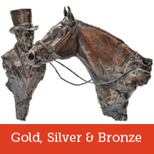 Horse racing gold, silver & bronze