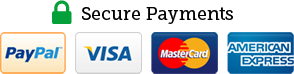 Secure Payments by PayPal, Visa, Mastercard and American Express